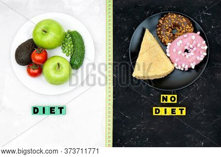 White Plate With Vegetables And Fruits And Black Plate With Donuts And A Cake On Contrast Background