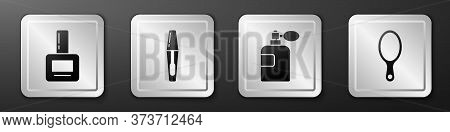 Set Nail Polish Bottle, Mascara Brush, Perfume And Hand Mirror Icon. Silver Square Button. Vector