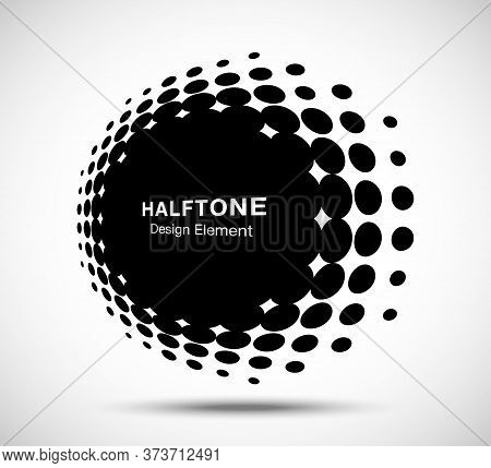 Halftone Circle Perspective Frame Abstract Dots Logo Emblem Design Element For Technology, Medical,