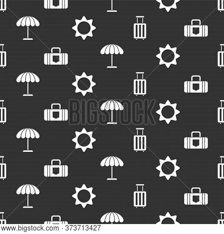 Set Suitcase, Suitcase, Sun Protective Umbrella For Beach And Sun On Seamless Pattern. Vector