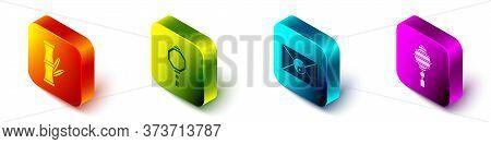 Set Isometric Bamboo, Chinese Paper Lantern, Yin Yang And Envelope And Chinese Paper Lantern Icon. V
