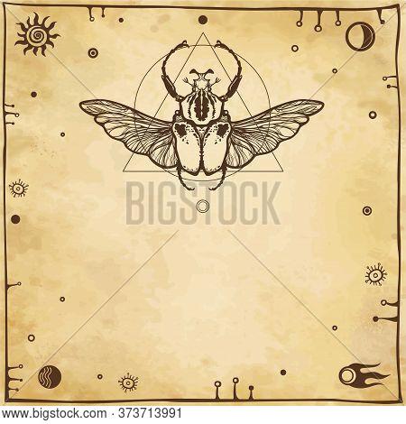 Bug Goliath. Geometrical Figures, Space Symbols, Ancient Manuscript. Background - Imitation Of Old P