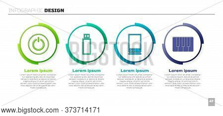 Set Power Button, Usb Flash Drive, Voice Assistant And Music Synthesizer. Business Infographic Templ