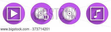 Set Play In Square, Vinyl Disk, Vinyl Disk And Music Note, Tone Icon With Long Shadow. Vector