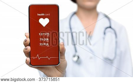 Collage Of Female Doctor Showing Smartphome With Health App And Body Vitals On Screen Against White