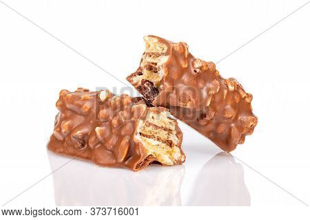 Slice Chocolate Bars With Nuts On White Background