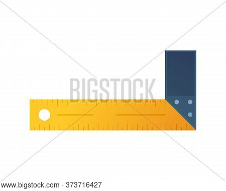 Try Square Icon In Cartoon Style. Woodworking Hand Tool Element Isolated On White Background. Orange
