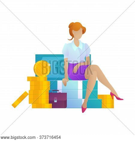 Business Woman On Money Cartoon Concept. Office Female Character With Dollar And Coins Isolated On W