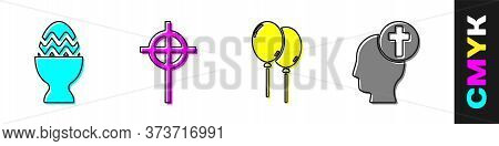 Set Easter Egg On A Stand, Christian Cross, Balloons With Ribbon And Human Head With Christian Cross