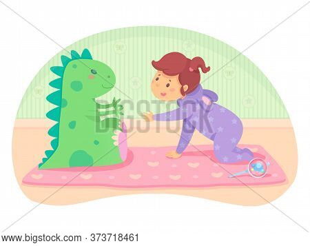 Little Cute Baby Girl In Jumpsuit Crawling To Big Green Toy Dragon. Pink Mat And Beanbag On Bedroom