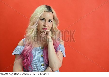 Horizontal Portrait Of A Pretty Caucasian Woman With A Wreath On Her Head. Blond Colored Hair Blonde