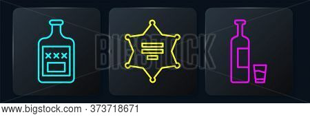 Set Line Whiskey Bottle, Whiskey Bottle And Glass And Hexagram Sheriff. Black Square Button. Vector