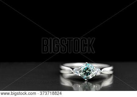 Luxury Engagement Diamond Ring. Gold Ring With Blue Diamond
