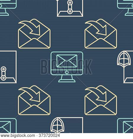 Set Line Envelope With Shield, Envelope And Monitor And Envelope On Seamless Pattern. Vector