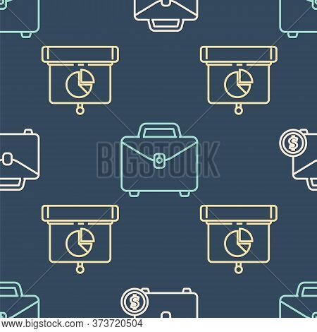 Set Line Briefcase And Money, Graph, Chart, Diagram, Infographic And Briefcase On Seamless Pattern.