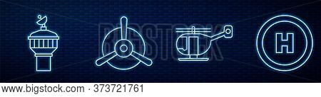 Set Line Helicopter, Radar, Plane Propeller And Helicopter Landing Pad. Glowing Neon Icon On Brick W