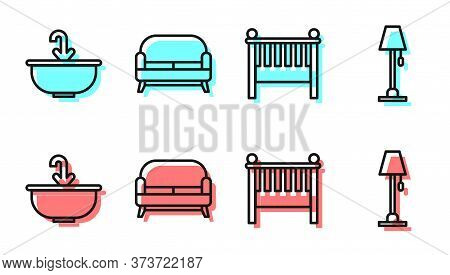 Set Line Baby Crib Cradle Bed, Washbasin With Water Tap, Sofa And Floor Lamp Icon. Vector