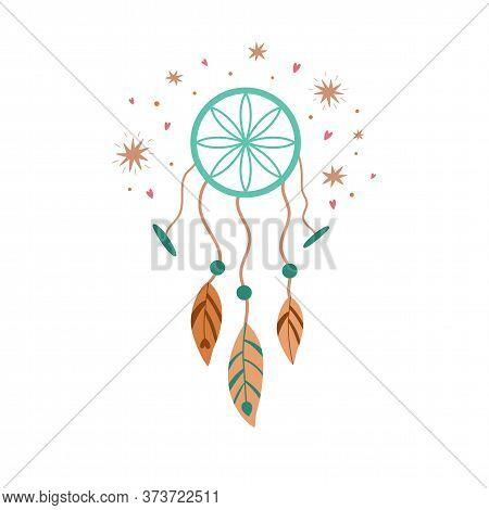 Boho Dreamcatcher, Cute Kids Boho Element, Tribal Feathers, Baby Decorative Pastel Print Vector Drea
