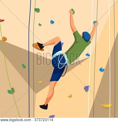 Young Man Character In Sportswear With Rope Training On Climbing Rock Wall. Extreme Sportsman. Tough
