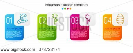 Set Line Human Hand And Easter Cake, Flower Tulip, Flower Tulip And Easter Egg. Business Infographic