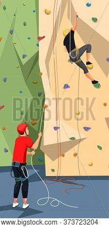People Character In Sportswear With Rope Training On Climbing Rock Wall. Extreme Sportsmen And Sport
