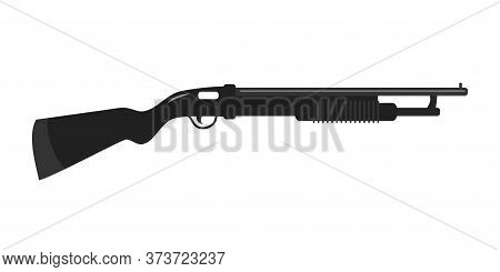 Flat Black Shotgun Military Weapon Isolated On White. Automatic Firearm. Hunting Gun. Bank Security