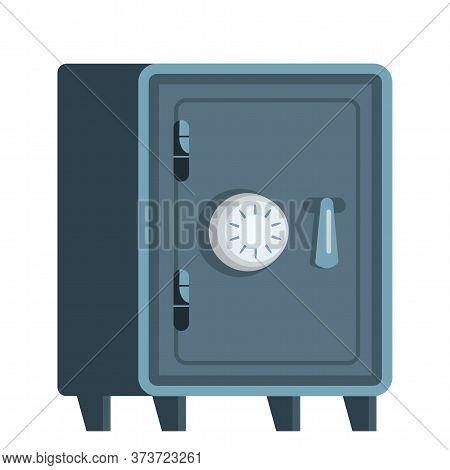 Metal Safe Box Flat Vector Illustration. Locked Bank Vault Isolated Clipart On White Background. Str