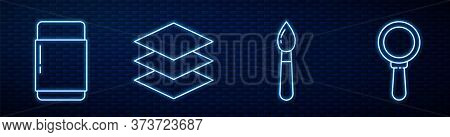 Set Line Paint Brush, Eraser Or Rubber, Layers And Magnifying Glass. Glowing Neon Icon On Brick Wall