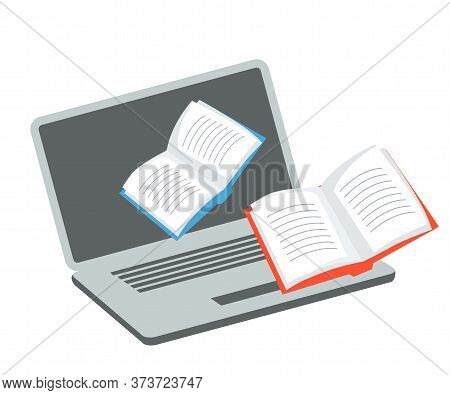 Media Content For Receiving Online Education. Application Cartoon Icon. Opened Laptop And Paper Book