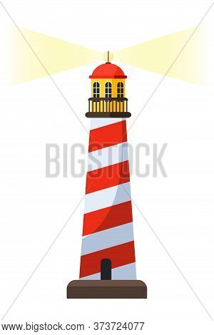 Lighthouse Vector Cartoon Illustration. Coast Tower Isometric Clipart. Navigational Aid For Sailors.