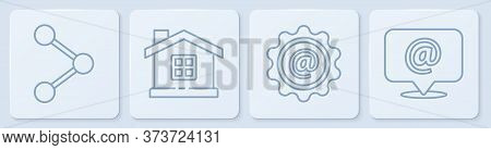Set Line Share, Mail And E-mail, House And Mail And E-mail. White Square Button. Vector