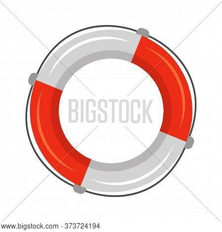 Marine Red White Solid Saver Flotation Ring, Life Buoy In Torus Shape With Rope For Help, Assistance