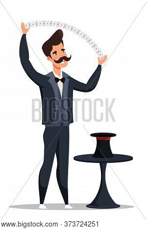Mustachioed Magician In Black Tailcoat Showing Tricks With Magic Gaming Cards And Hat. Cartoon Man I