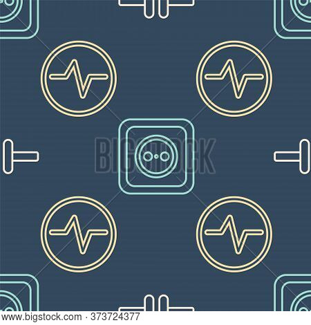 Set Line Electric Circuit Scheme, Electric Circuit Scheme And Electrical Outlet On Seamless Pattern.