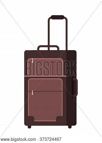 Cartoon Flat Brown Suitcase With Handle On Small Wheels. Luggage Travel Bag Isolated On White. Trave