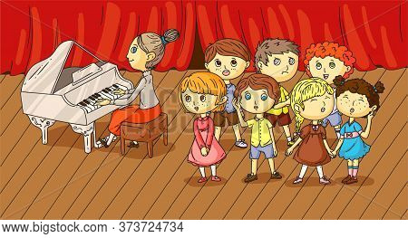 Children Choir Music Performance On Stage Vector Illustration. Educator Playing Musical Instrument.