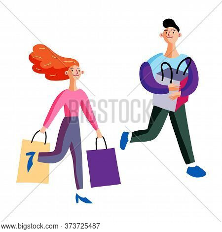 Happy Man And Woman With Paper Bags Going And Sharing Emotions After Shopping Isolated On White. Car