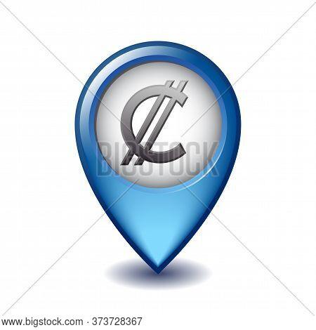 Salvadoran Colon Symbol On Mapping Marker Vector Icon.