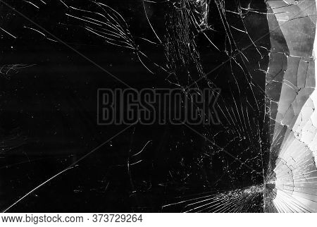 Shattered Glass Texture. Broken Windshield. Black Fractured Window With White Dirt Dust.