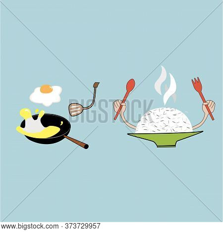 Cooked Rice In Green Plate Have Smoke Up And Egg Fire On The Pan On Blue Background.