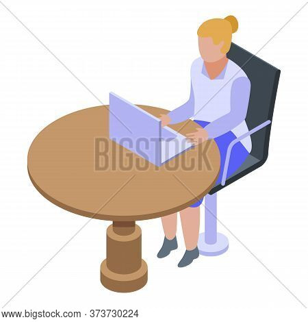Woman Bank Teller Icon. Isometric Of Woman Bank Teller Vector Icon For Web Design Isolated On White