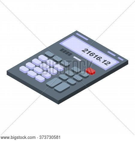 Math Calculator Icon. Isometric Of Math Calculator Vector Icon For Web Design Isolated On White Back