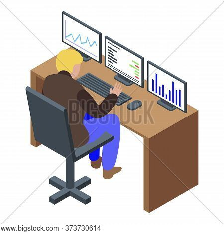 Trader Desk Icon. Isometric Of Trader Desk Vector Icon For Web Design Isolated On White Background