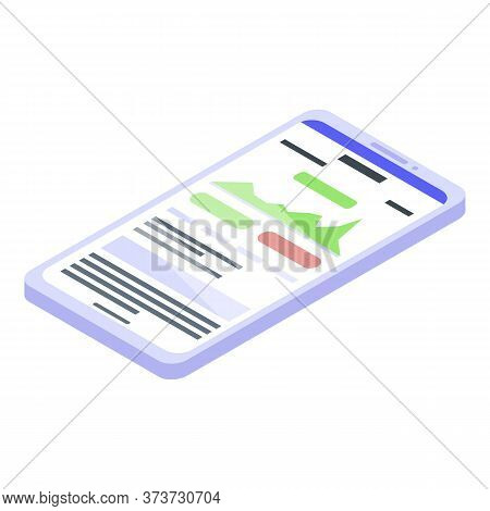 Trader Smartphone Icon. Isometric Of Trader Smartphone Vector Icon For Web Design Isolated On White