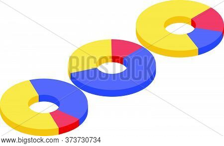 Pie Charts Trade Icon. Isometric Of Pie Charts Trade Vector Icon For Web Design Isolated On White Ba