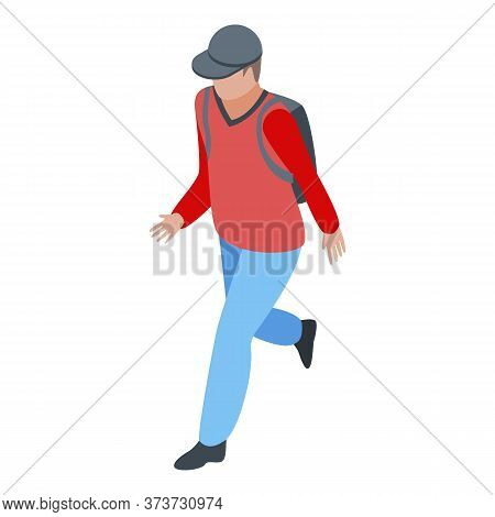 Running Immigrant Icon. Isometric Of Running Immigrant Vector Icon For Web Design Isolated On White