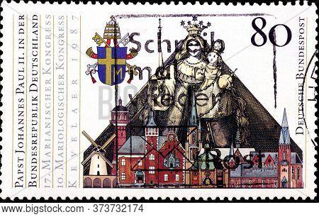 02 08 2020 Divnoe Stavropol Krai Russia The Postage Stamp Germany 1987 Pope Johannes Paul Ii Visit I