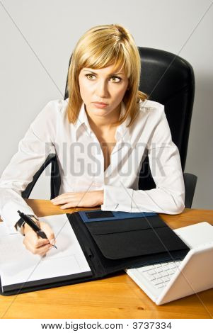 Beautiful Lady Writing
