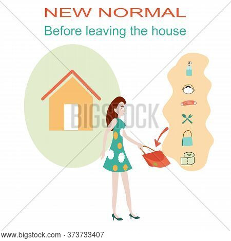 New Normal, Prepare Something Before Leaving The House, Alcohol, Face Mask, Spoon, Fork, Tissue Pape