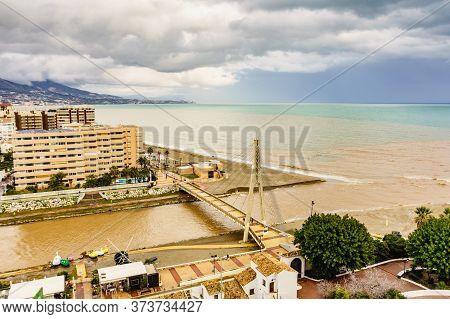 Fuengirola, Malaga, Spain - January 25, 2020: Bridge Of The Navy, Armada Pedestrian Bridge Over The